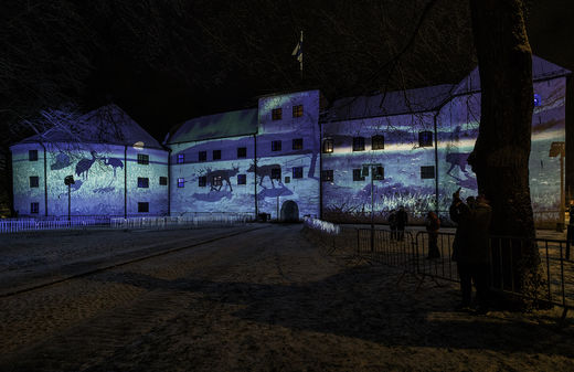 Turku castle and Finland 100 years lights